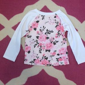 Carter's long sleeved floral tee 3t EUC